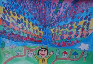 絵本「ミリーのすてきな帽子」から 絵:南町小学校 たけのこ学級5年 岡地 智弘さん